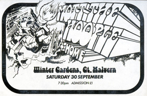 Poster for Plastic Dog's promotion at the Winter Gardens, Malvern