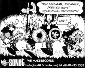 Advertisement for Tasavallan Presidentti. Rod Buckle of Sonet Records gave a lot of work to Plastic Dog Graphics.